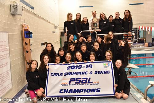 Stuyvesant penguins win 2018 psal girls swimming and diving team championship for Stuyvesant high school swimming pool